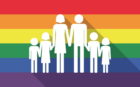 sexual orientation: Illustration of a long shadow gay pride flag with a large family  pictogram Illustration