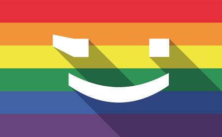 wink: Illustration of a long shadow gay pride flag with  a wink text face emoticon