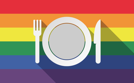 bisexual: Illustration of a long shadow gay pride flag with  a dish, knife and a fork icon Illustration