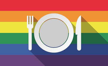 Ilustración de una larga sombra de la bandera del orgullo gay con un plato, cuchillo y tenedor en un icono Ilustración de vector