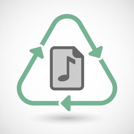 partition musique: Vector illustration d'un art de ligne signe de recyclage ic�ne avec une ic�ne de partition