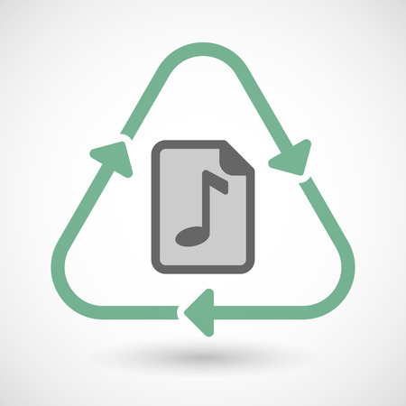 music score: Vector illustration of a line art recycle sign icon with  a music score icon