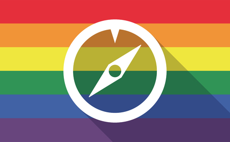sexual orientation: Illustration of a long shadow gay pride flag with a compass
