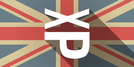 sticking: Illustration of a long shadow UK flag icon with  a Tongue sticking text face emoticon