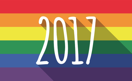 bisexual: Illustration of a long shadow gay pride flag with  a 2017 year  number icon Illustration