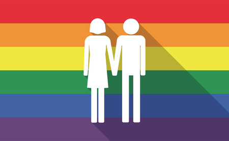 heterosexual: Illustration of a long shadow gay pride flag with a heterosexual couple pictogram