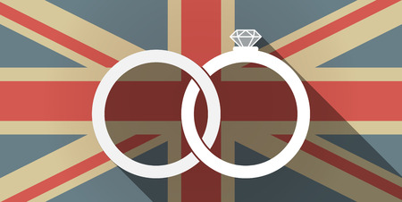 jack of diamonds: Illustration of a long shadow UK flag icon with  two bonded wedding rings Illustration