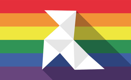 bisexual: Illustration of a long shadow gay pride flag with  a paper bird
