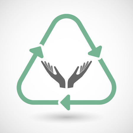 ease: Vector illustration of a line art recycle sign icon with  two hands offering Illustration