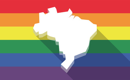 bisexual: Illustration of a long shadow gay pride flag with  a map of Brazil