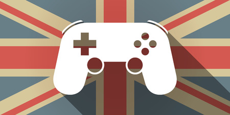 game pad: Illustration of a long shadow UK flag icon with  a game pad