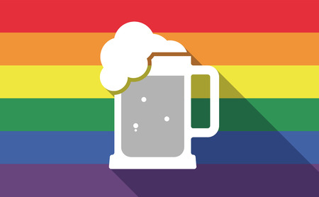 beer jar: Illustration of a long shadow gay pride flag with  a beer jar icon