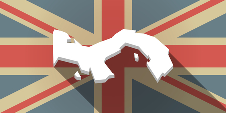 bandera panama: Ilustraci�n de un icono de la bandera del Reino Unido larga sombra con el mapa de Panam� Vectores