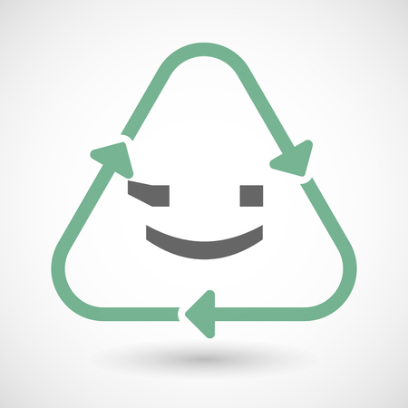 wink: Vector illustration of a line art recycle sign icon with  a wink text face emoticon Illustration