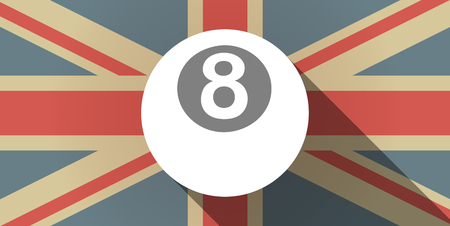 pool ball: Illustration of a long shadow UK flag icon with  a pool ball