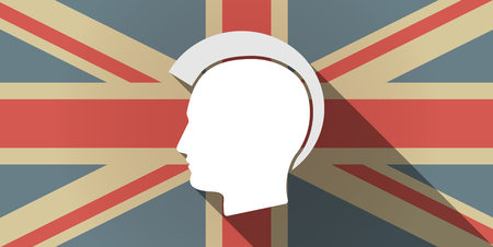 punk hair: Illustration of a long shadow UK flag icon with  a male punk head silhouette Illustration