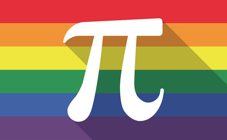 constant: Illustration of a long shadow gay pride flag with the number pi symbol