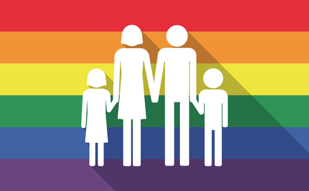 sexual orientation: Illustration of a long shadow gay pride flag with a conventional family pictogram