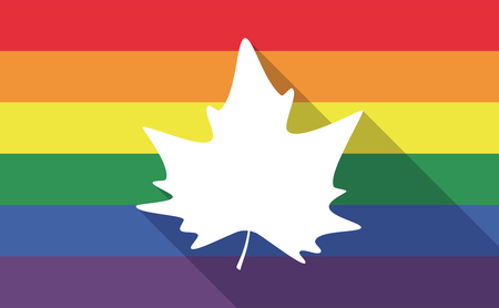 bisexual: Illustration of a long shadow gay pride flag with an autumn leaf tree