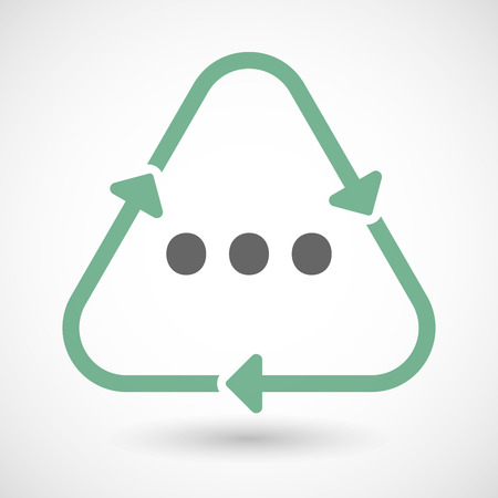 rumor: Vector illustration of a line art recycle sign icon with  an ellipsis orthographic sign