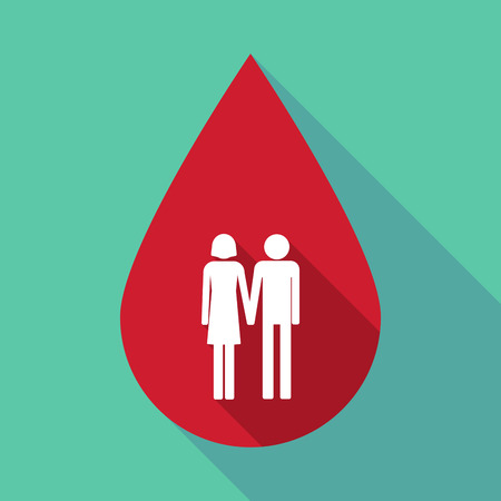 heterosexual couple: Illustration of a long shadow blood drop with a heterosexual couple pictogram