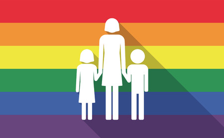 single family: Illustration of a long shadow gay pride flag with a female single parent family pictogram Illustration