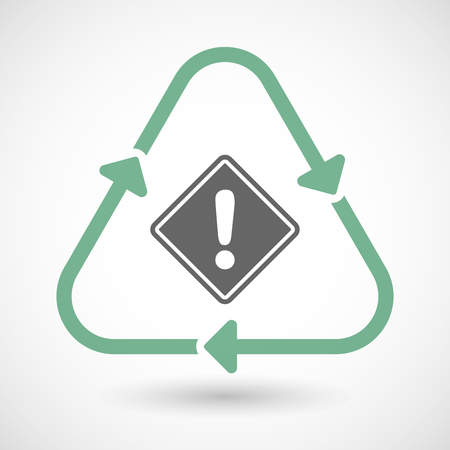 environmental hazard: Vector illustration of a line art recycle sign icon with   a warning road sign