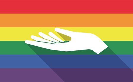 sexual orientation: Illustration of a long shadow gay pride flag with a hand offering
