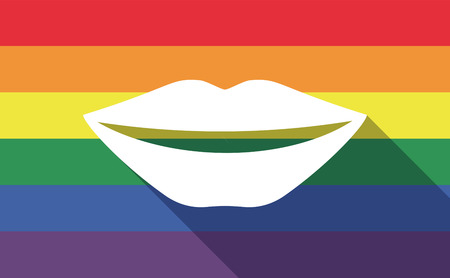 long mouth: Illustration of a long shadow gay pride flag with  a female mouth smiling