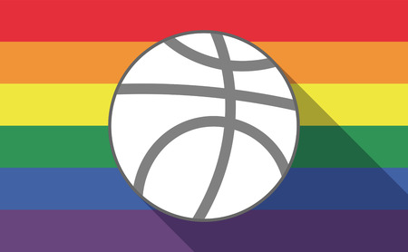 sexual orientation: Illustration of a long shadow gay pride flag with  a basketball ball