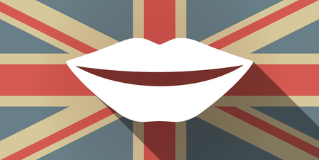 long mouth: Illustration of a long shadow UK flag icon with  a female mouth smiling