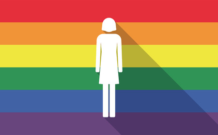 gay girl: Illustration of a long shadow gay pride flag with a female pictogram