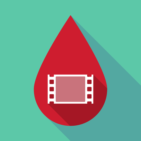 documentary: Illustration of a long shadow blood drop with a film photogram Illustration