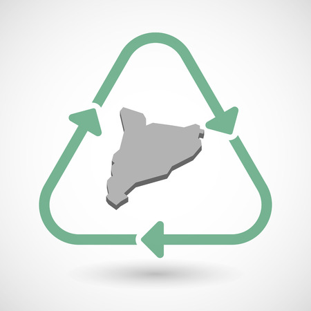 autonomia: Vector illustration of a line art recycle sign icon with  the map of Catalonia