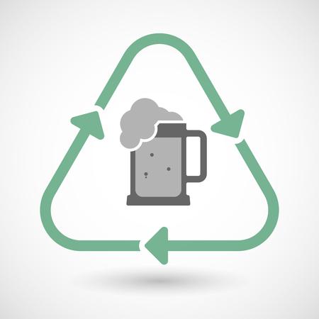 tarro cerveza: Ilustración vectorial de un icono de la muestra del reciclaje línea de arte con un icono de jarra de cerveza