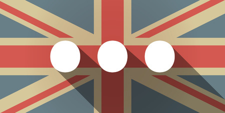 orthographic: Illustration of a long shadow UK flag icon with  an ellipsis orthographic sign