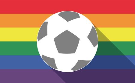 sexual orientation: Illustration of a long shadow gay pride flag with  a soccer ball