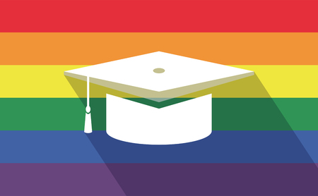 bisexual: Illustration of a long shadow gay pride flag with a graduation cap