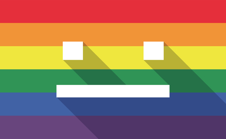 emotionless: Illustration of a long shadow gay pride flag with a emotionless text face Illustration