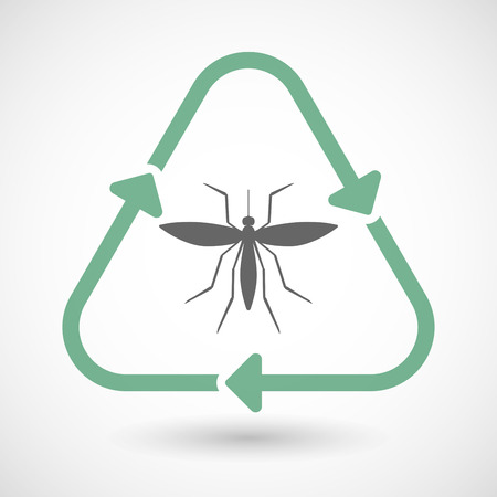 bloodsucker: Vector illustration of a line art recycle sign icon with  a mosquito