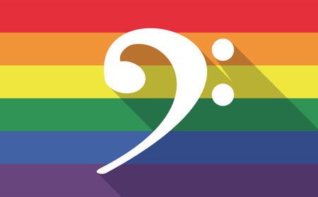 bisexual: Illustration of a long shadow gay pride flag with an F clef
