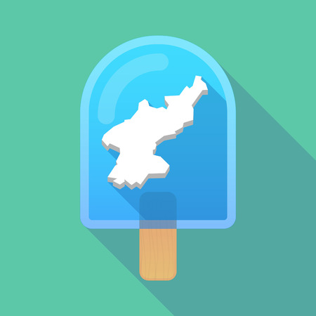 korea food: Illustration of long shadow ice cream icon with  the map of North Korea