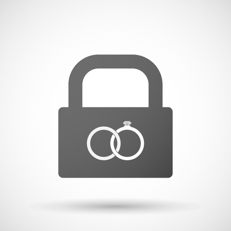 bonded: Illustration of an isolated lock pad icon with  two bonded wedding rings Illustration