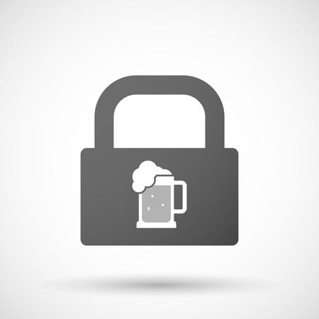 tarro cerveza: Ilustración de un icono de la almohadilla de bloqueo aislado con un icono de jarra de cerveza