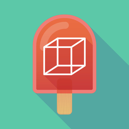 sorbet: Illustration of long shadow ice cream icon with  a cube sign
