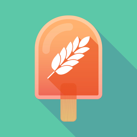 celiac: Illustration of long shadow ice cream icon with  a wheat plant icon
