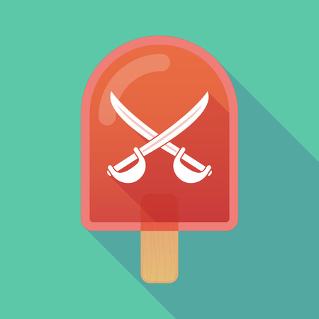 sorbet: Illustration of long shadow ice cream icon with  two swords crossed Illustration