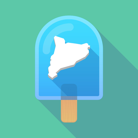 catalonia: Illustration of long shadow ice cream icon with  the map of Catalonia