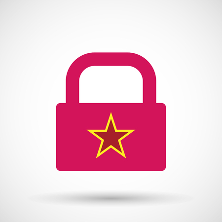 communism: Illustration of an isolated lock pad icon with  the red star of communism icon