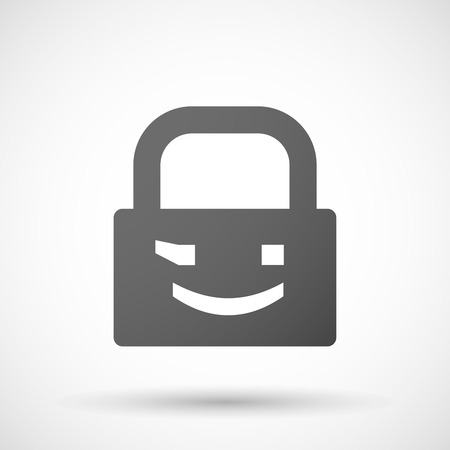 wink: Illustration of an isolated lock pad icon with  a wink text face emoticon Illustration